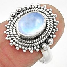 3.02cts natural rainbow moonstone 925 silver solitaire ring size 7.5 r52546
