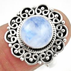 4.63cts natural rainbow moonstone 925 silver solitaire ring size 7.5 r52554