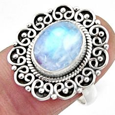4.32cts natural rainbow moonstone 925 silver solitaire ring size 7.5 r52680