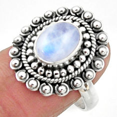 3.01cts natural rainbow moonstone 925 silver solitaire ring size 7.5 r52700