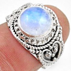 4.68cts natural rainbow moonstone 925 silver solitaire ring size 6.5 r53283