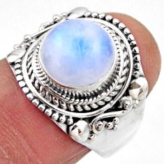 5.08cts natural rainbow moonstone 925 silver solitaire ring size 7.5 r53287
