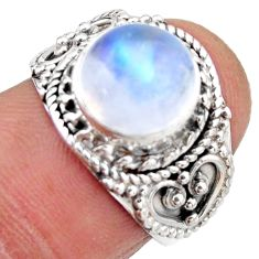 4.92cts natural rainbow moonstone 925 silver solitaire ring size 6.5 r53293
