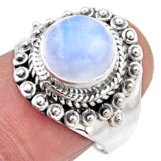 4.94cts natural rainbow moonstone 925 silver solitaire ring size 7.5 r53298