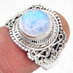 5.10cts natural rainbow moonstone 925 silver solitaire ring size 7.5 r53299