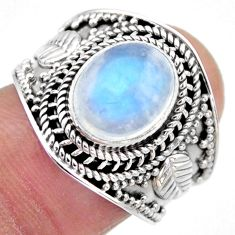 4.55cts natural rainbow moonstone 925 silver solitaire ring size 7.5 r53602
