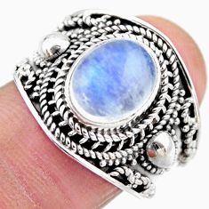 4.55cts natural rainbow moonstone 925 silver solitaire ring size 7.5 r53603