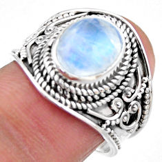 4.38cts natural rainbow moonstone 925 silver solitaire ring size 7.5 r53606