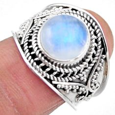 5.27cts natural rainbow moonstone 925 silver solitaire ring size 7.5 r53608