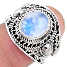 4.52cts natural rainbow moonstone 925 silver solitaire ring size 7.5 r53613