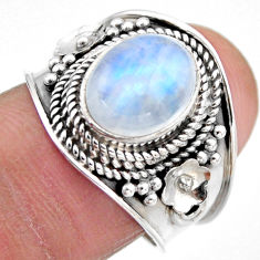 4.55cts natural rainbow moonstone 925 silver solitaire ring size 7.5 r53615