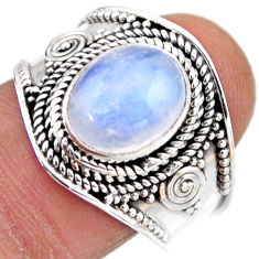 4.55cts natural rainbow moonstone 925 silver solitaire ring size 8.5 r53637