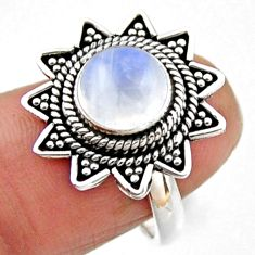 3.52cts natural rainbow moonstone 925 silver solitaire ring size 6.5 r54315