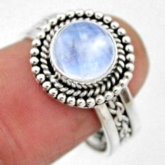 3.14cts natural rainbow moonstone 925 silver solitaire ring size 8.5 r54319