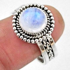 3.38cts natural rainbow moonstone 925 silver solitaire ring size 8.5 r54320