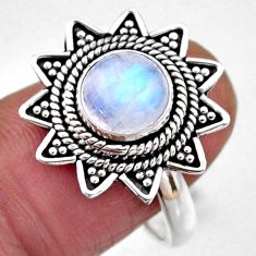 3.01cts natural rainbow moonstone 925 silver solitaire ring size 8.5 r54338