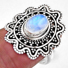 2.09cts natural rainbow moonstone 925 silver solitaire ring size 7.5 r54358