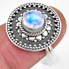 1.21cts natural rainbow moonstone 925 silver solitaire ring size 8.5 r54378