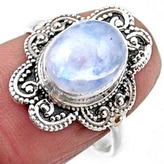 4.08cts natural rainbow moonstone 925 silver solitaire ring size 7.5 r54500