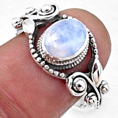 1.94cts natural rainbow moonstone 925 silver solitaire ring size 7.5 r54536