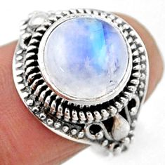 6.09cts natural rainbow moonstone 925 silver solitaire ring size 8.5 r54598