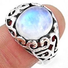 5.37cts natural rainbow moonstone 925 silver solitaire ring size 7.5 r54618