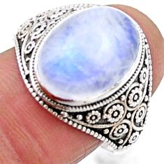 6.32cts natural rainbow moonstone 925 silver solitaire ring size 8.5 r54638