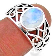 3.25cts natural rainbow moonstone 925 silver solitaire ring size 7.5 r54678