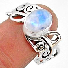 3.35cts natural rainbow moonstone 925 silver solitaire ring size 9.5 r54699