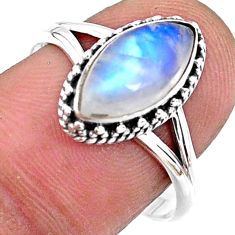 2.61cts natural rainbow moonstone 925 silver solitaire ring size 8.5 r57396