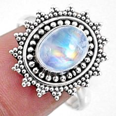 3.01cts natural rainbow moonstone 925 silver solitaire ring size 8.5 r57457