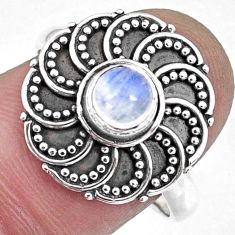 0.88cts natural rainbow moonstone 925 silver solitaire ring size 8.5 r57899