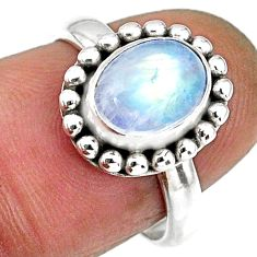 2.14cts natural rainbow moonstone 925 silver solitaire ring size 6.5 r57915