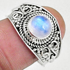 2.94cts natural rainbow moonstone 925 silver solitaire ring size 8.5 r58031