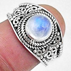 2.43cts natural rainbow moonstone 925 silver solitaire ring size 7.5 r58036