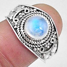2.39cts natural rainbow moonstone 925 silver solitaire ring size 8.5 r58039