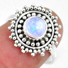 1.30cts natural rainbow moonstone 925 silver solitaire ring size 6.5 r58180