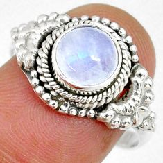 2.44cts natural rainbow moonstone 925 silver solitaire ring size 8.5 r58190
