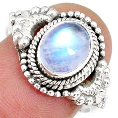 2.09cts natural rainbow moonstone 925 silver solitaire ring size 7.5 r58192