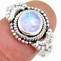 2.44cts natural rainbow moonstone 925 silver solitaire ring size 8.5 r58194