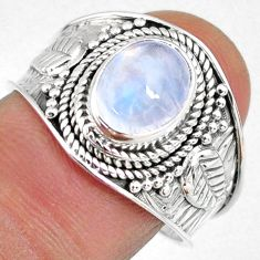 3.09cts natural rainbow moonstone 925 silver solitaire ring size 8.5 r58350