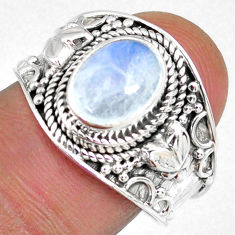 3.07cts natural rainbow moonstone 925 silver solitaire ring size 8.5 r58354