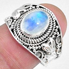 3.10cts natural rainbow moonstone 925 silver solitaire ring size 8.5 r58398