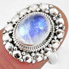 4.47cts natural rainbow moonstone 925 silver solitaire ring size 7.5 r58956