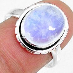 5.24cts natural rainbow moonstone 925 silver solitaire ring size 7.5 r63765