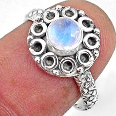 0.86cts natural rainbow moonstone 925 silver solitaire ring size 6.5 r64836