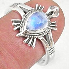 1.56cts natural rainbow moonstone 925 silver solitaire ring size 7.5 r68797