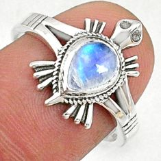 1.56cts natural rainbow moonstone 925 silver solitaire ring size 7.5 r68798