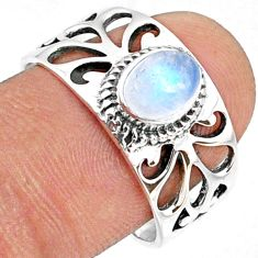 1.49cts natural rainbow moonstone 925 silver solitaire ring size 8.5 r68818