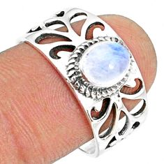 1.47cts natural rainbow moonstone 925 silver solitaire ring size 8.5 r68819